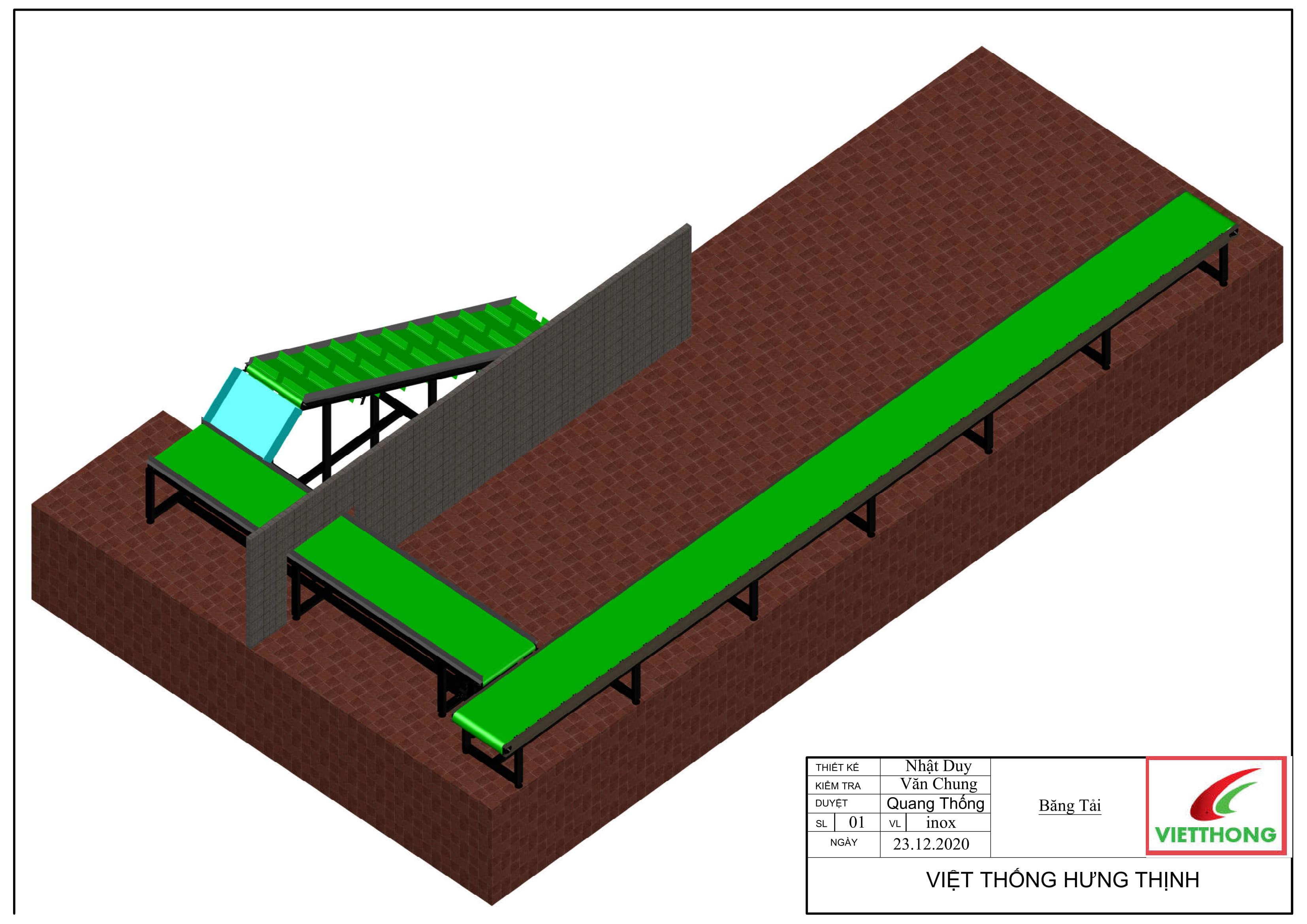 Thi công hệ thống băng tải PVC khung inox cho anh Trung