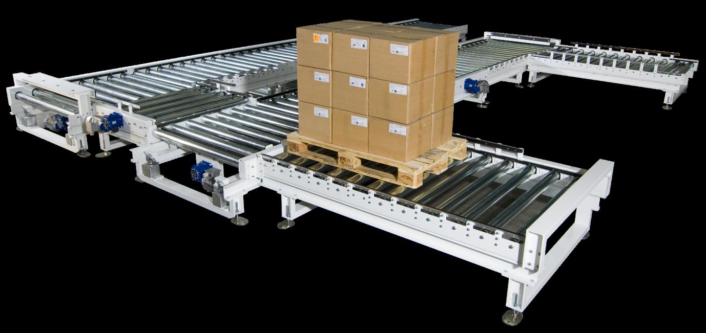 Xử lý hàng hóa tự động với băng tải hồi pallet